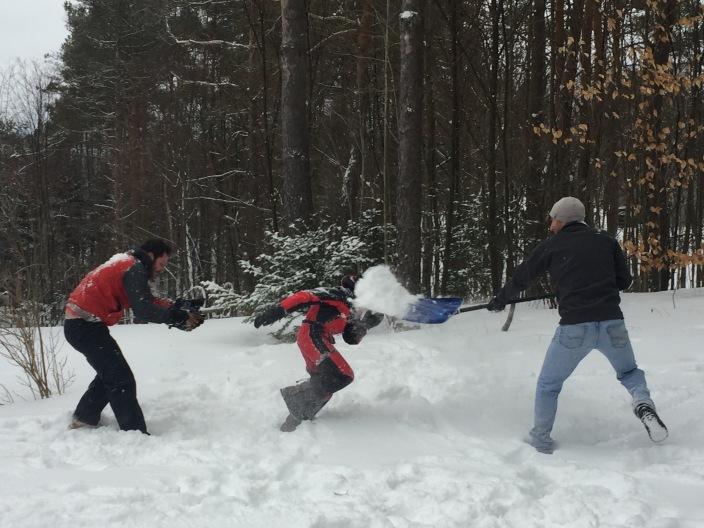 Snow fight. Gold medal winning team
